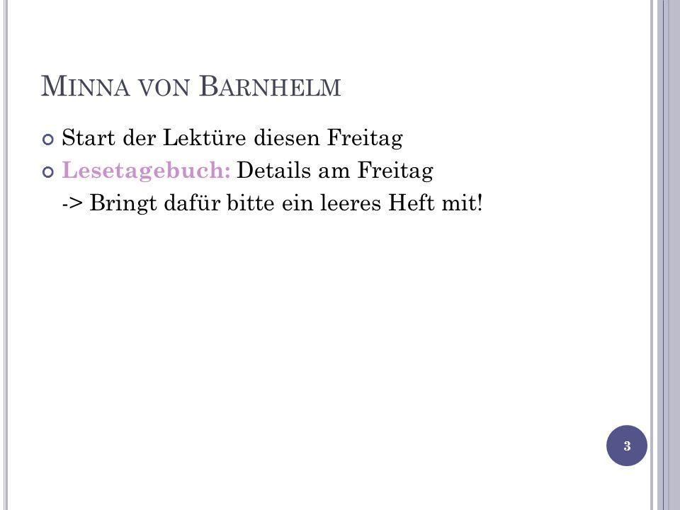 Minna von Barnhelm Start der Lektüre diesen Freitag