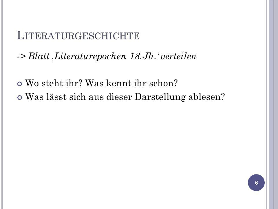 Literaturgeschichte -> Blatt 'Literaturepochen 18.Jh.' verteilen