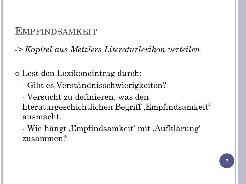 Empfindsamkeit -> Kapitel aus Metzlers Literaturlexikon verteilen