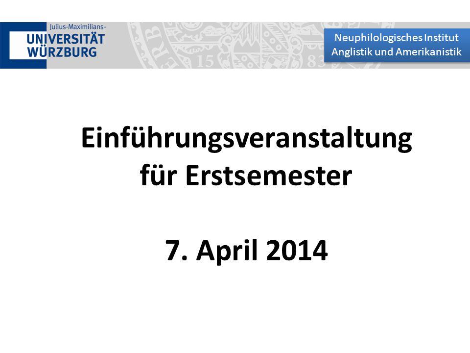 Einführungsveranstaltung für Erstsemester 7. April 2014