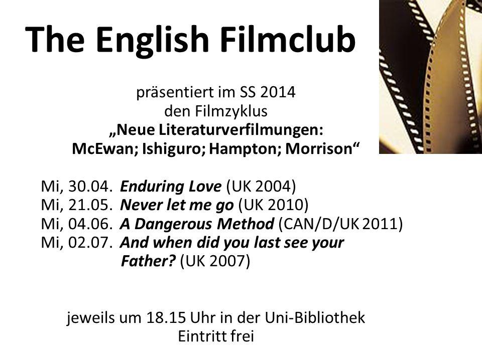 """""""Neue Literaturverfilmungen: McEwan; Ishiguro; Hampton; Morrison"""