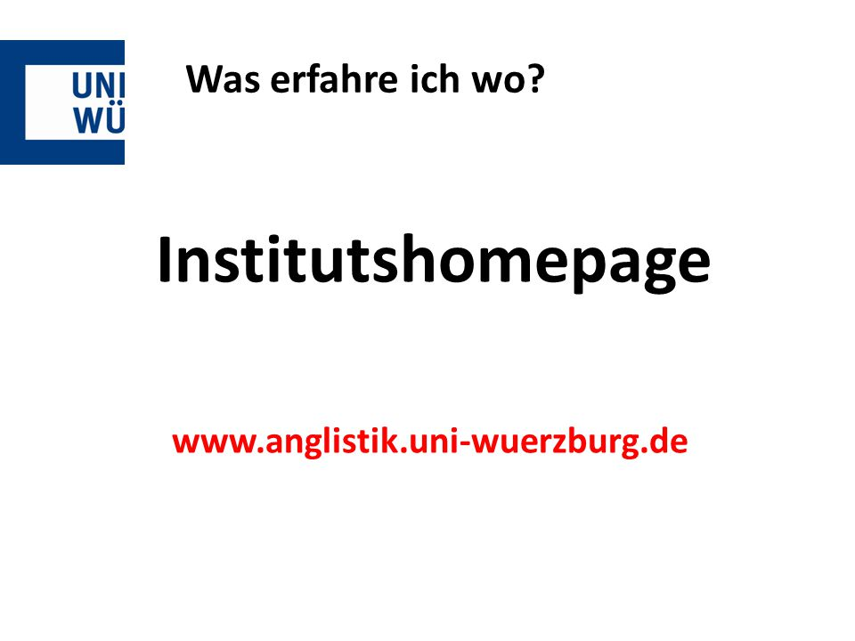 Institutshomepage www.anglistik.uni-wuerzburg.de
