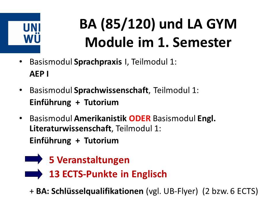 BA (85/120) und LA GYM Module im 1. Semester