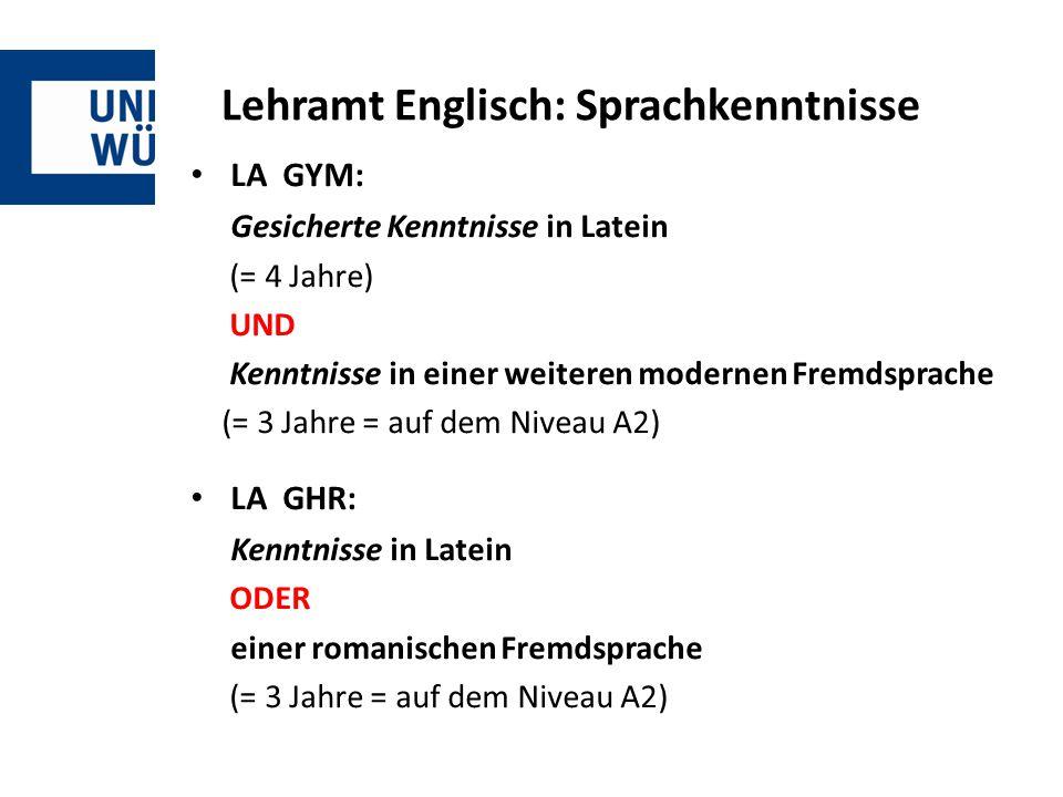 Lehramt Englisch: Sprachkenntnisse