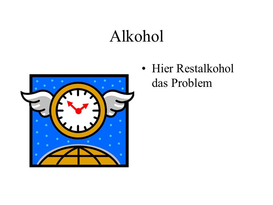 Alkohol Hier Restalkohol das Problem