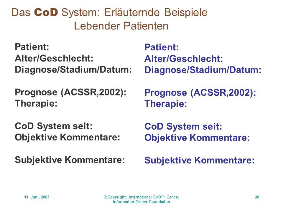 Das CoD System: Erläuternde Beispiele Lebender Patienten