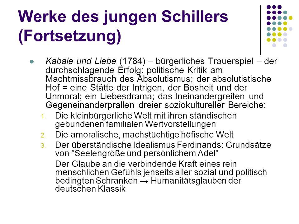 Werke des jungen Schillers (Fortsetzung)