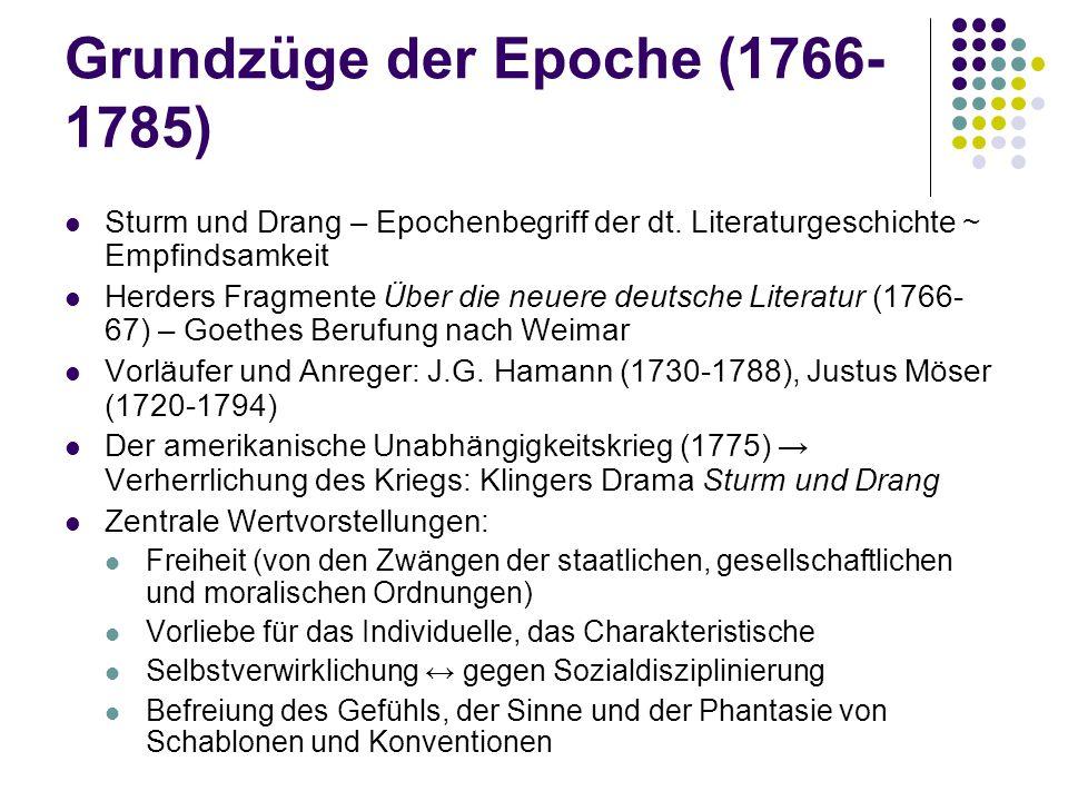 Grundzüge der Epoche (1766-1785)