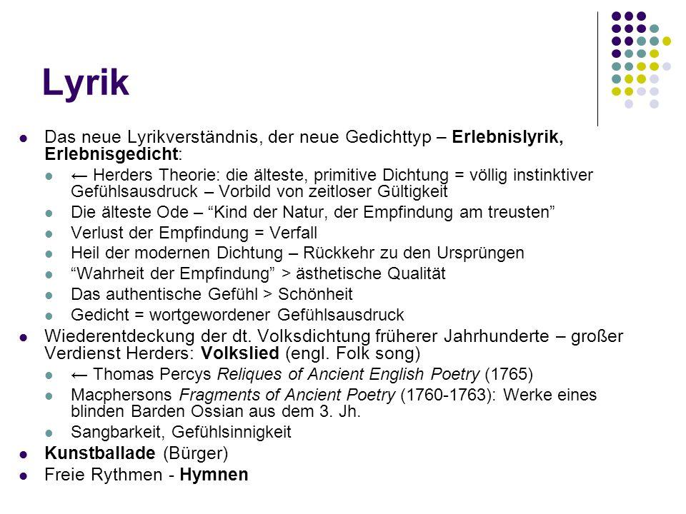 Lyrik Das neue Lyrikverständnis, der neue Gedichttyp – Erlebnislyrik, Erlebnisgedicht: