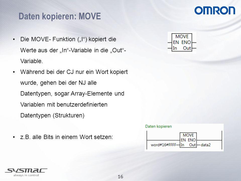 """Daten kopieren: MOVE Die MOVE- Funktion (""""I ) kopiert die Werte aus der """"In -Variable in die """"Out -Variable."""