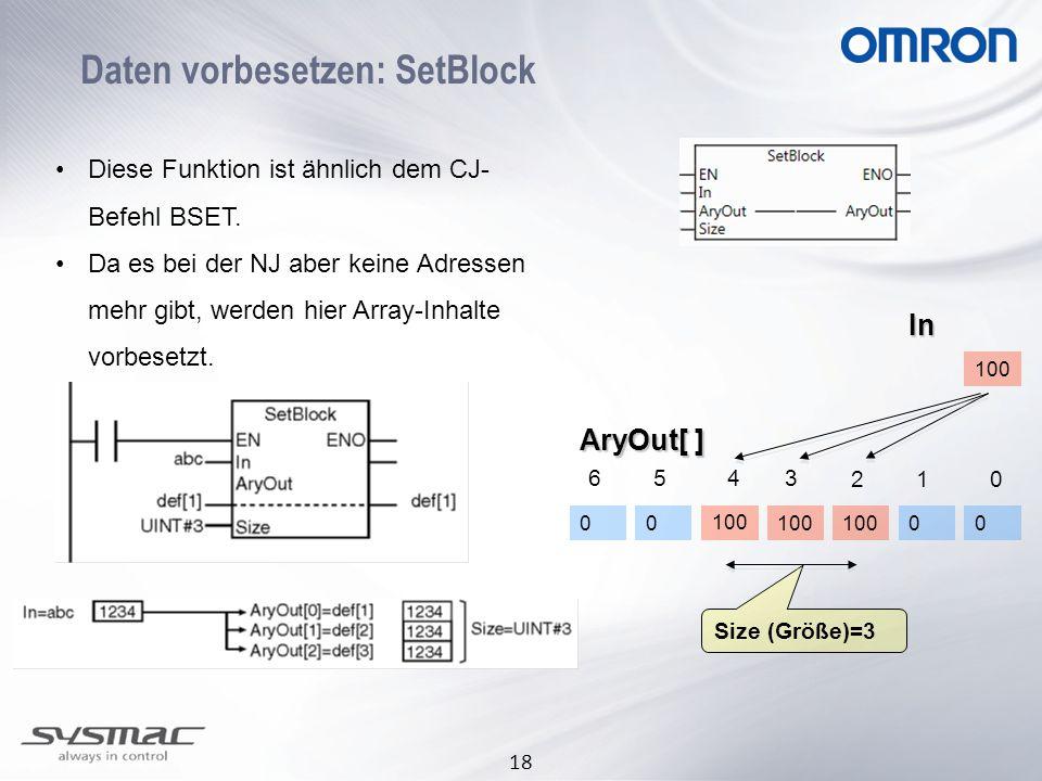 Daten vorbesetzen: SetBlock