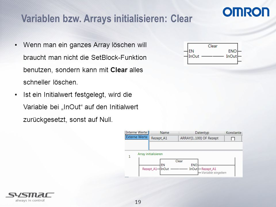 Variablen bzw. Arrays initialisieren: Clear