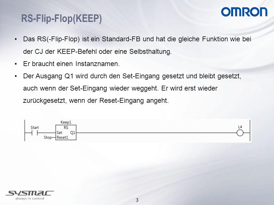 RS-Flip-Flop(KEEP) Das RS(-Flip-Flop) ist ein Standard-FB und hat die gleiche Funktion wie bei der CJ der KEEP-Befehl oder eine Selbsthaltung.