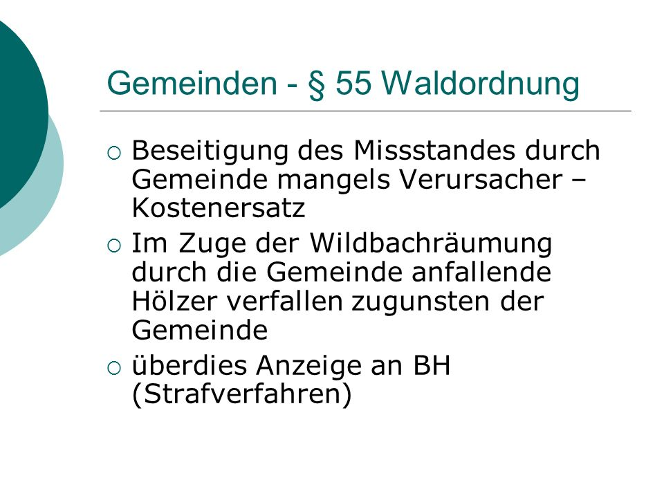 Gemeinden - § 55 Waldordnung