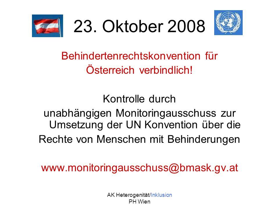 23. Oktober 2008 Behindertenrechtskonvention für