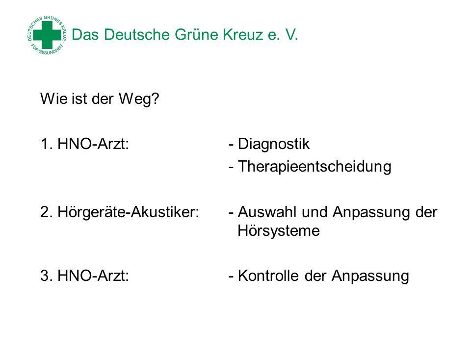 Wie ist der Weg 1. HNO-Arzt: - Diagnostik. - Therapieentscheidung. 2. Hörgeräte-Akustiker: - Auswahl und Anpassung der Hörsysteme.