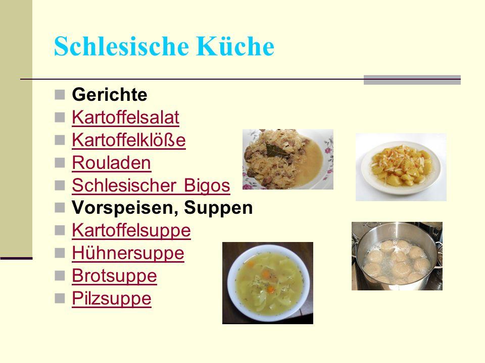 Schlesische Küche Gerichte Kartoffelsalat Kartoffelklöße Rouladen