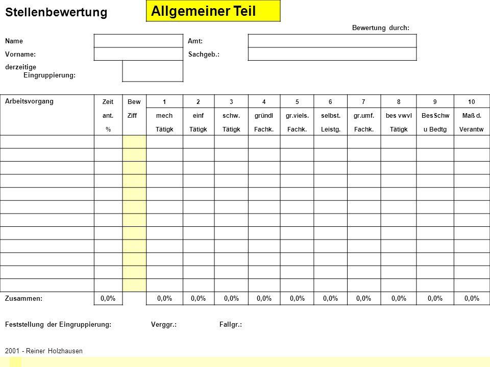 Allgemeiner Teil Stellenbewertung © Reiner Holzhausen Bewertung durch: