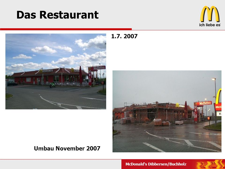 Das Restaurant 1.7. 2007 Umbau November 2007