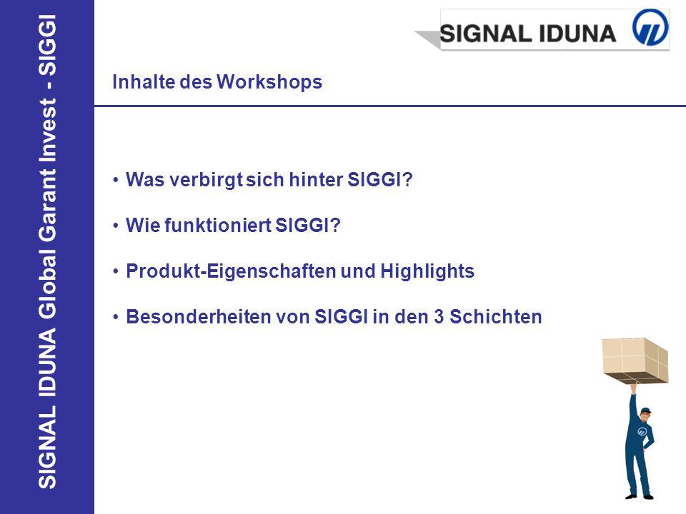Inhalte des Workshops Was verbirgt sich hinter SIGGI Wie funktioniert SIGGI Produkt-Eigenschaften und Highlights.