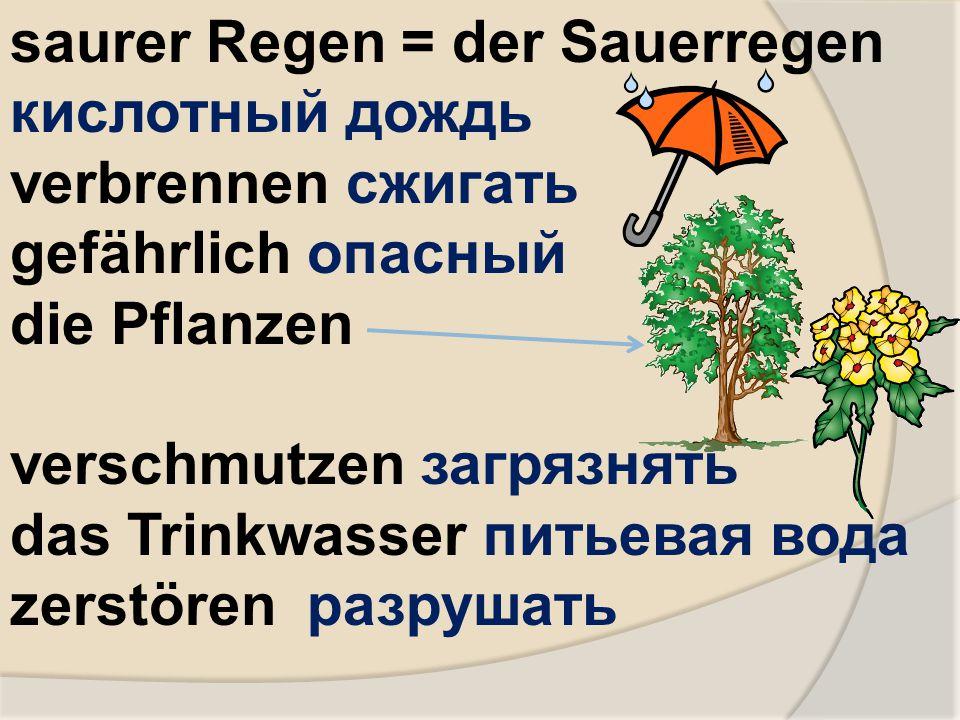 saurer Regen = der Sauerregen кислотный дождь