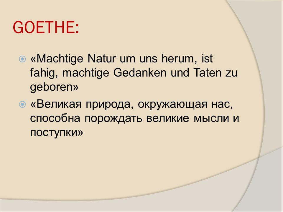 GOETHE: «Machtige Natur um uns herum, ist fahig, machtige Gedanken und Taten zu geboren»
