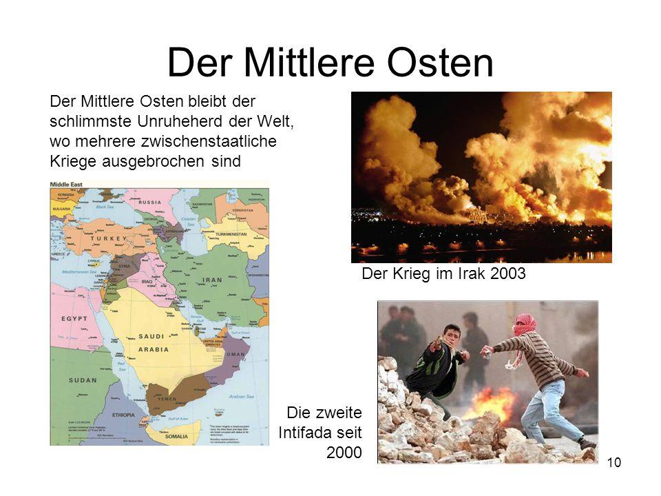 Der Mittlere Osten Der Mittlere Osten bleibt der schlimmste Unruheherd der Welt, wo mehrere zwischenstaatliche Kriege ausgebrochen sind.