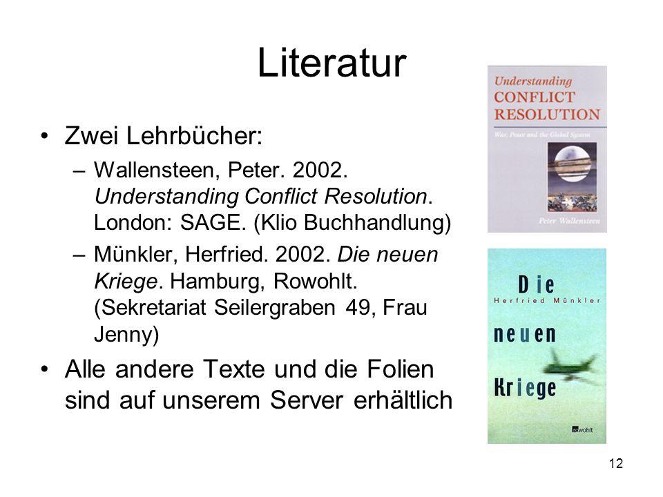 Literatur Zwei Lehrbücher: