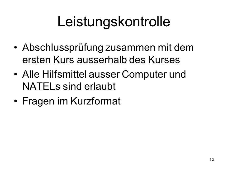 Leistungskontrolle Abschlussprüfung zusammen mit dem ersten Kurs ausserhalb des Kurses. Alle Hilfsmittel ausser Computer und NATELs sind erlaubt.