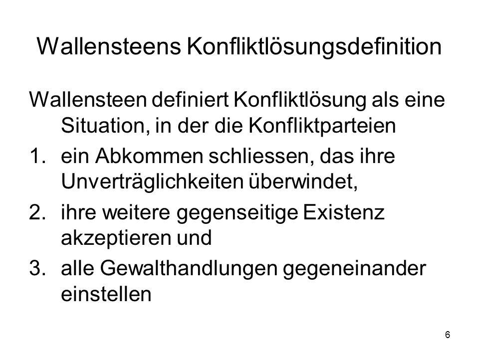 Wallensteens Konfliktlösungsdefinition