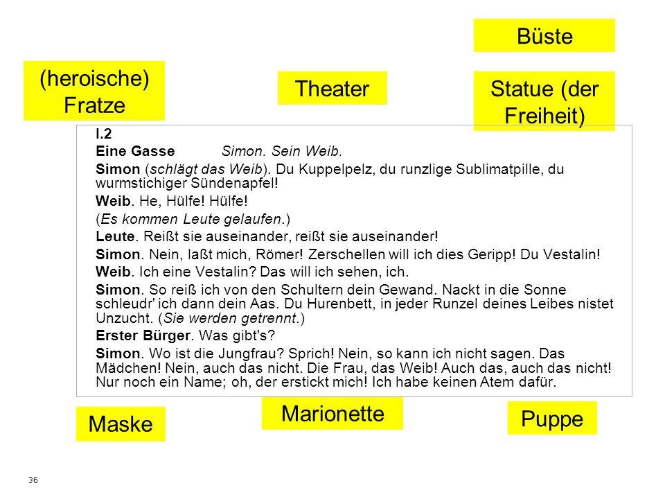 Büste (heroische) Fratze Theater Statue (der Freiheit) Marionette