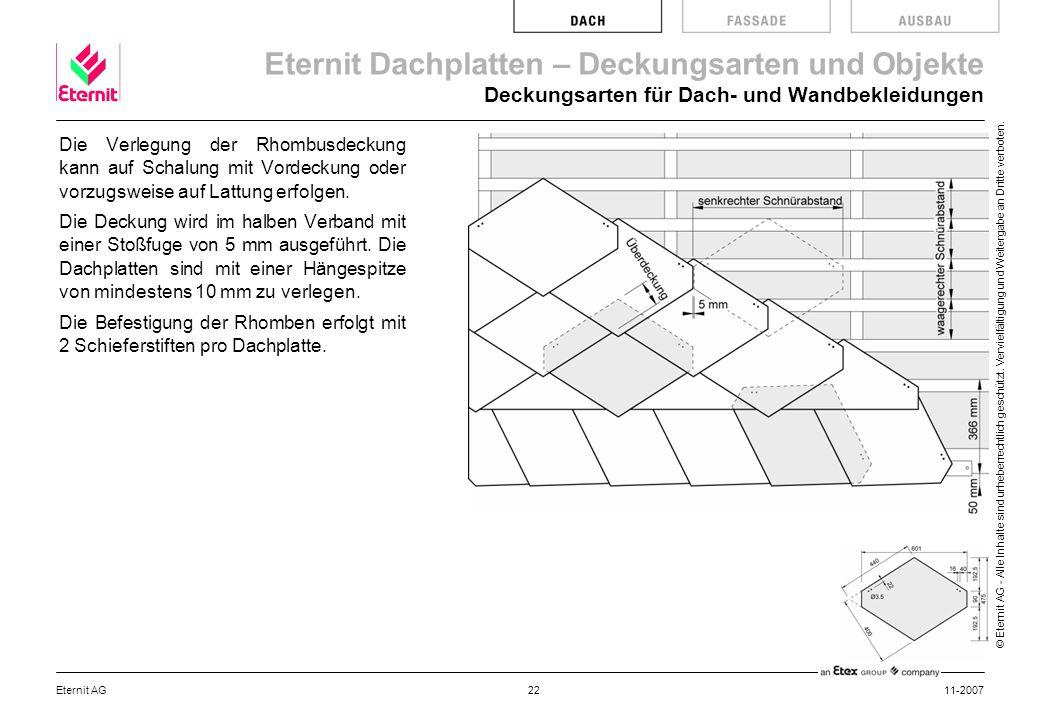 Deckungsarten für Dach- und Wandbekleidungen