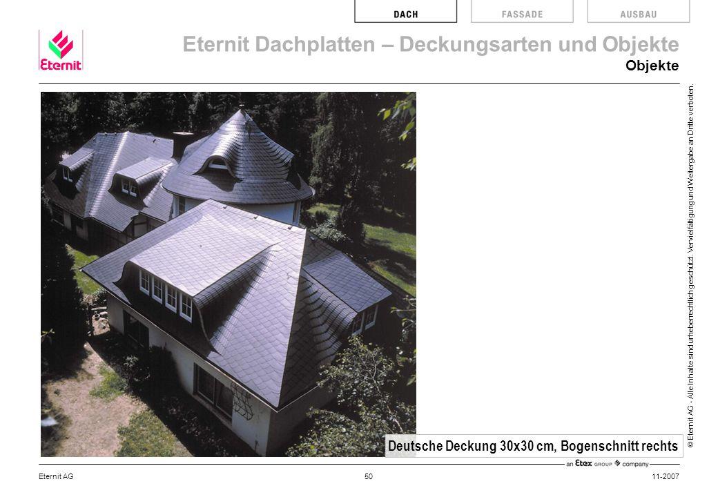 Deutsche Deckung 30x30 cm, Bogenschnitt rechts