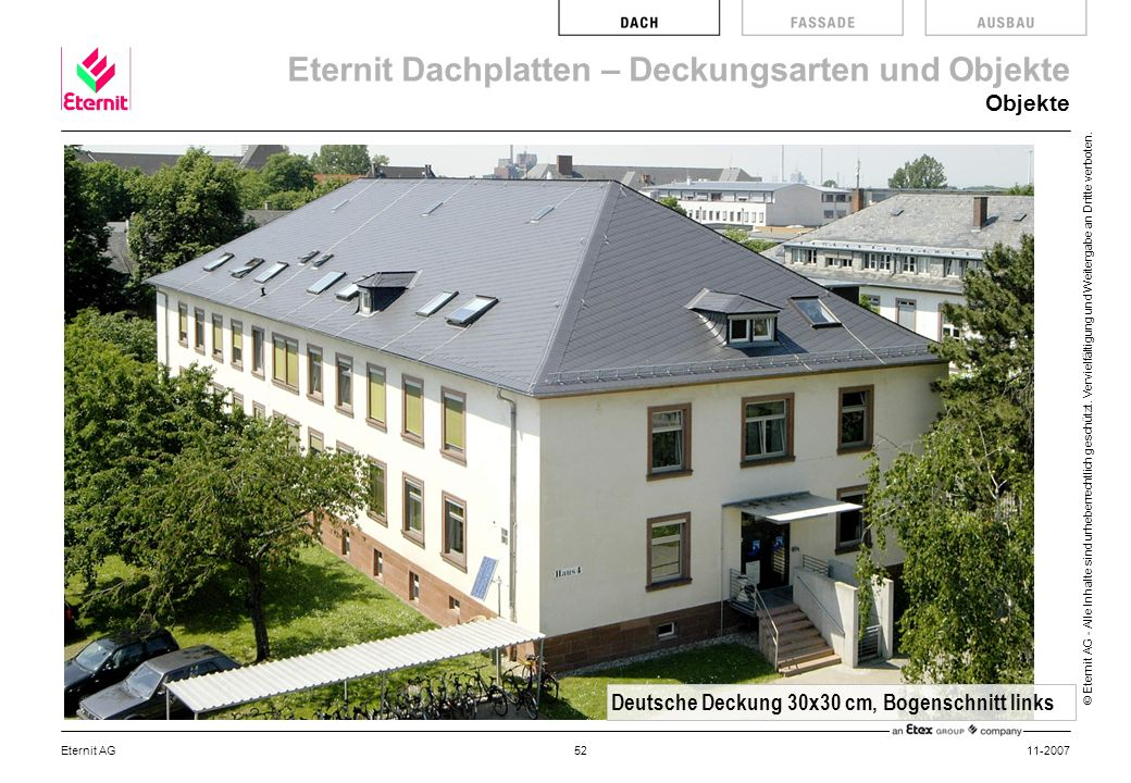 Deutsche Deckung 30x30 cm, Bogenschnitt links