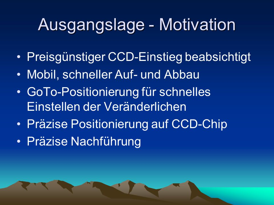 Ausgangslage - Motivation