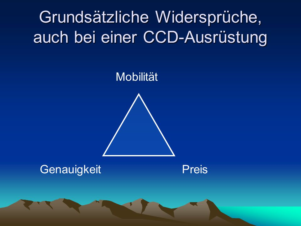 Grundsätzliche Widersprüche, auch bei einer CCD-Ausrüstung