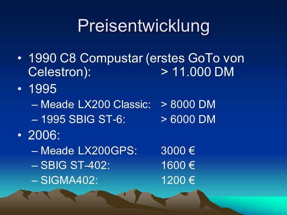 Preisentwicklung 1990 C8 Compustar (erstes GoTo von Celestron): > 11.000 DM. 1995. Meade LX200 Classic: > 8000 DM.