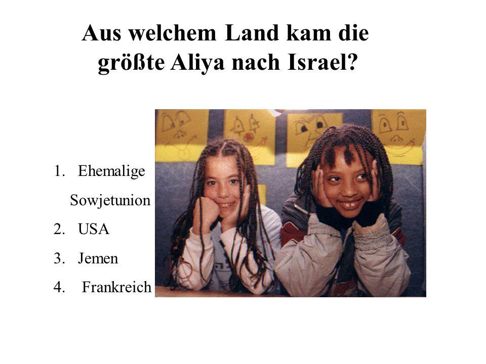 Aus welchem Land kam die größte Aliya nach Israel