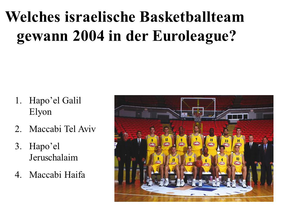 Welches israelische Basketballteam gewann 2004 in der Euroleague