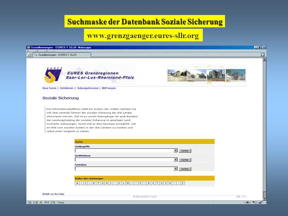 Suchmaske der Datenbank Soziale Sicherung