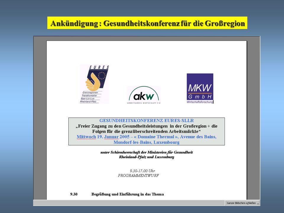 Ankündigung : Gesundheitskonferenz für die Großregion