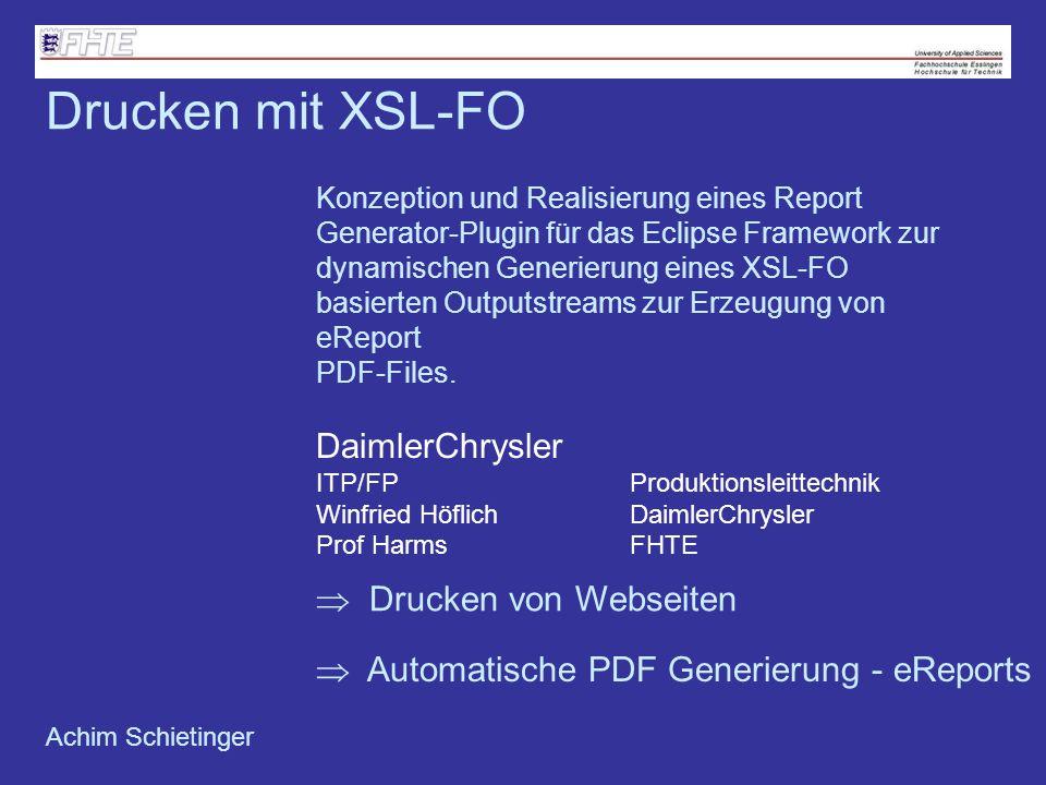 Drucken mit XSL-FO DaimlerChrysler  Drucken von Webseiten