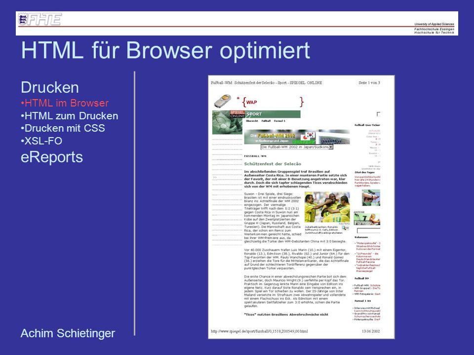 HTML für Browser optimiert