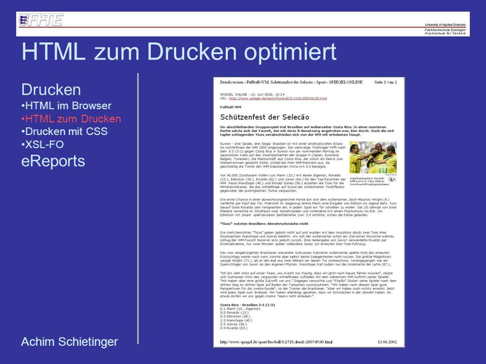 HTML zum Drucken optimiert