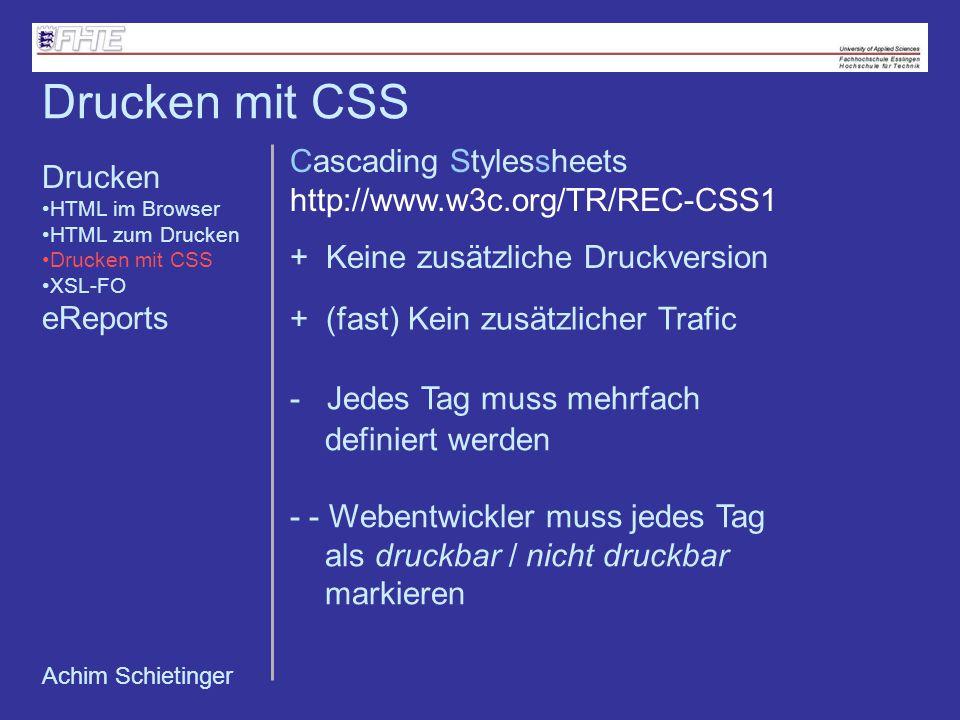 Drucken mit CSS Cascading Stylessheets Drucken