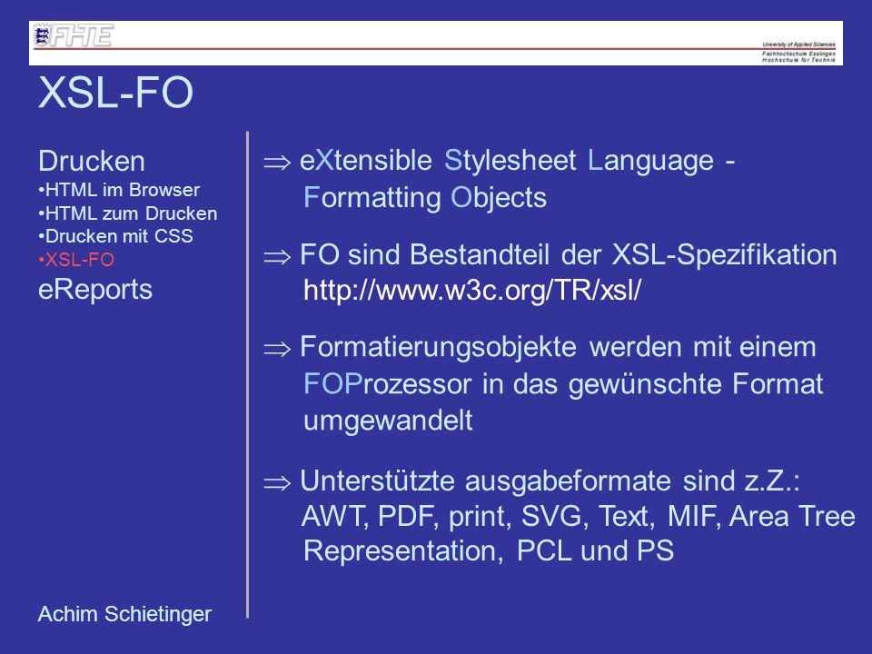 XSL-FO Drucken eReports
