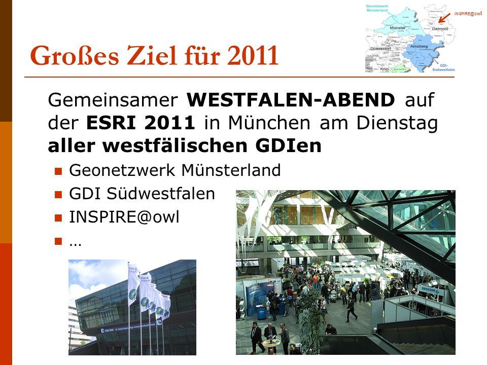 INSPIRE@owl Großes Ziel für 2011. Gemeinsamer WESTFALEN-ABEND auf der ESRI 2011 in München am Dienstag aller westfälischen GDIen.