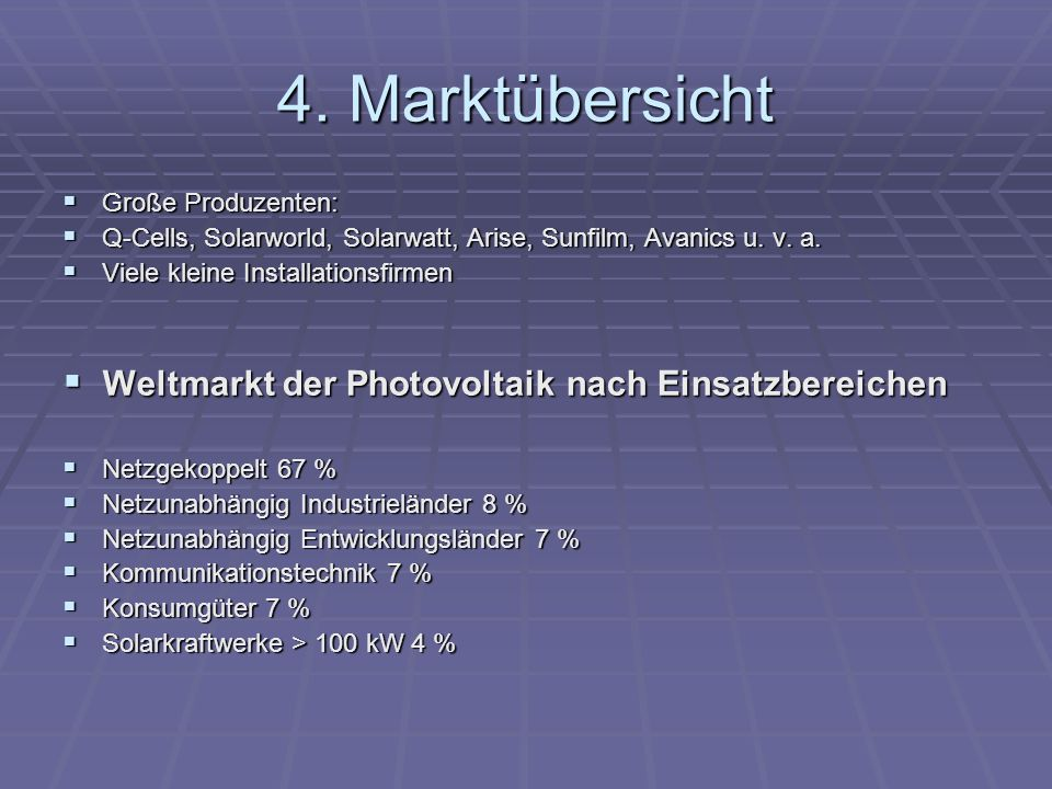 4. Marktübersicht Weltmarkt der Photovoltaik nach Einsatzbereichen