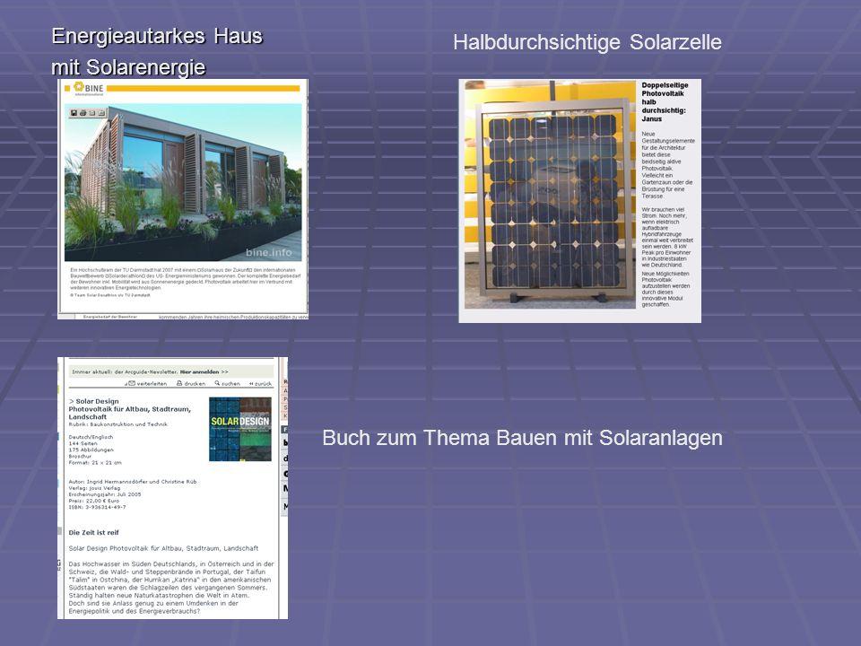 Energieautarkes Haus mit Solarenergie. Halbdurchsichtige Solarzelle.