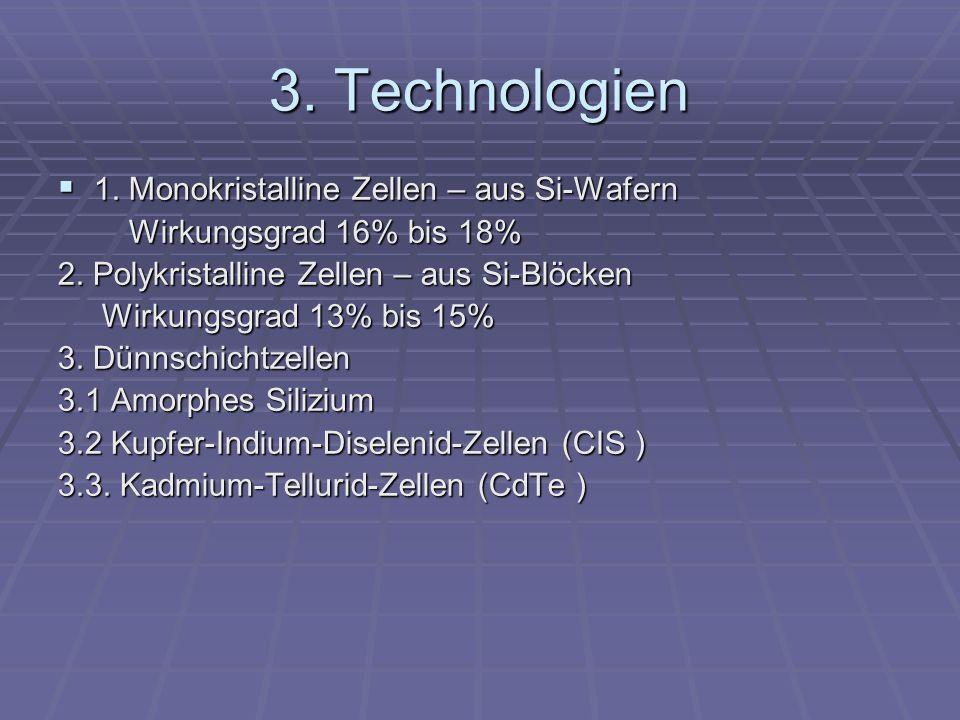 3. Technologien 1. Monokristalline Zellen – aus Si-Wafern
